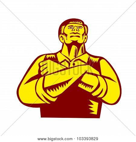 Businessman Arms Crossed Woodcut