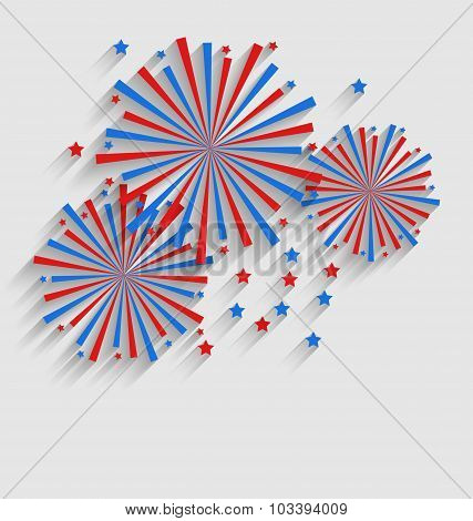 Firework Colorized in Flag US for Celebration Events, Flat Styl