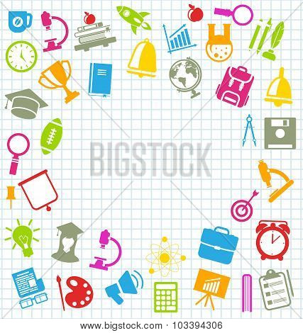 Education Flat Colorful Simple Icons