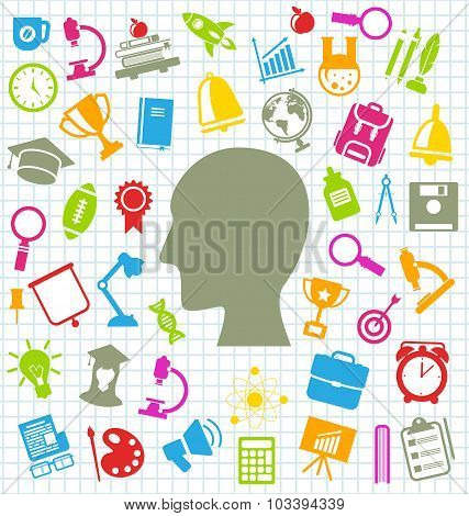 Set of Education Flat Colorful Simple Icons