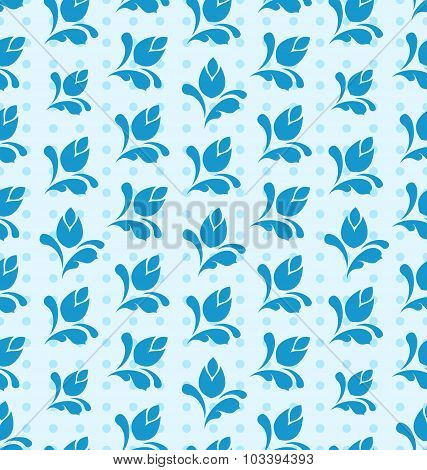 Seamless Pattern with Floral Elements, Blue Background