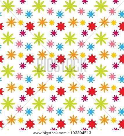Seamless Floral Kid Texture with Colorful Flowers