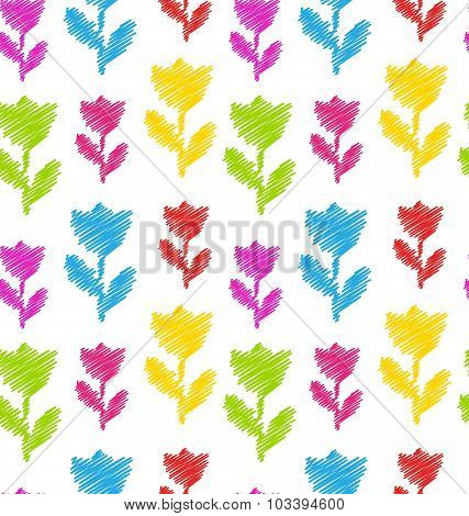 Seamless Flower Texture, Natural Pattern for Textile