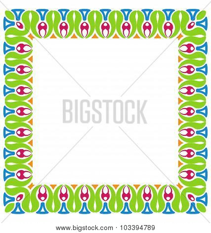 Abstract Colorful Ornamental Border Isolated on White Background