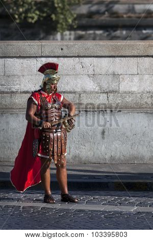 Man Dressed Up As A Roman Legionnaire