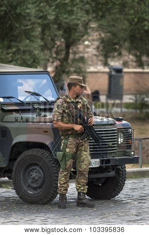 Italian Soldier In Rome