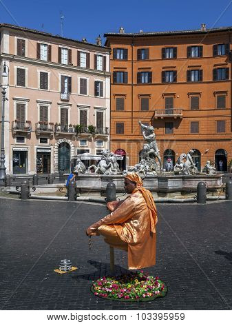 Levitating Street Performer In Rome, Italy