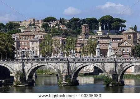 Ponte Sant'angelo Bridge In Rome, Italy