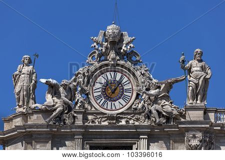 Clock On The St. Peter's Facade In Rome, Italy