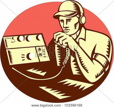 Ham Radio Operator Circle Woodcut