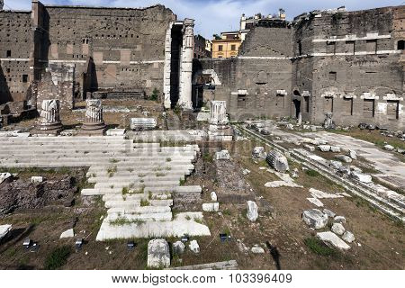 Podium Of The Temple Of Mars In The Forum Of Augustus