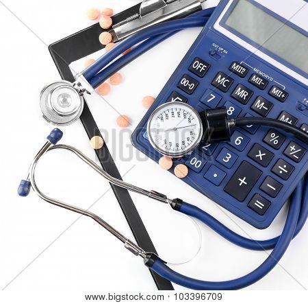 Blood pressure meter and stethoscope, isolated on white background
