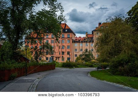 Klefbecks Backe And Buildings On Skanegatan In Sodermalm, Stockholm, Sweden.