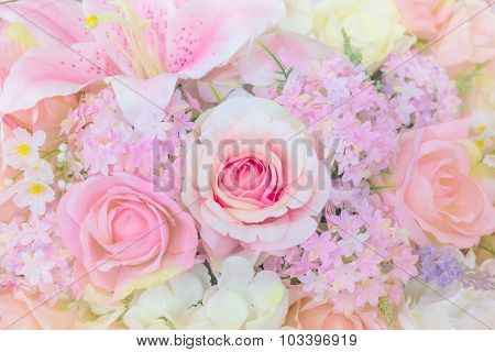 Flower Of The Fabric With Floral Background