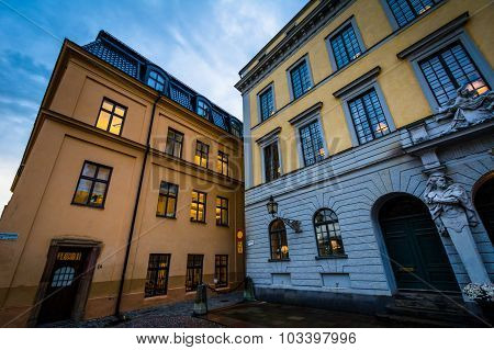 Buildings On Slottsbacken, In Glama Stan, Stockholm, Sweden.