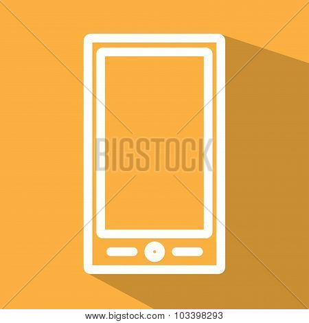 Smart phone white line flat icon