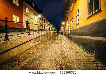 Brännkyrkagatan At Night, In Södermalm, Stockholm, Sweden.
