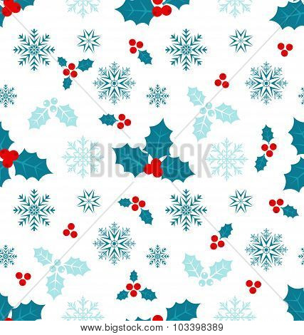 Seamless Pattern with Christmas Holly Berry