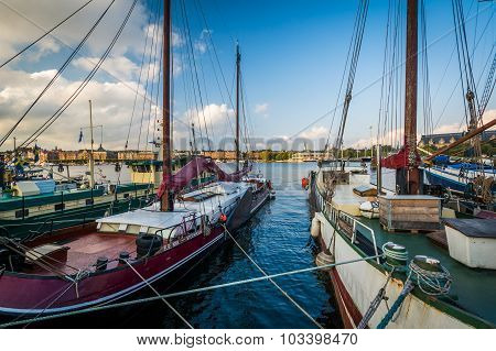 Boats Docked At Skeppsholmen, In Norrmalm, Stockholm, Sweden.
