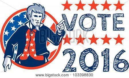 Vote 2016 Uncle Sam Pointing Circle Retro