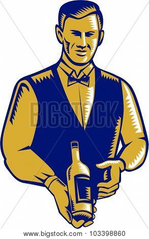 Waiter Presenting Wine Bottle Woodcut