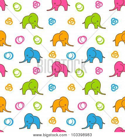 Seamless Texture with Colorful Cartoon Elephants