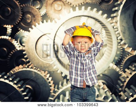 little handyman and 3d gear background