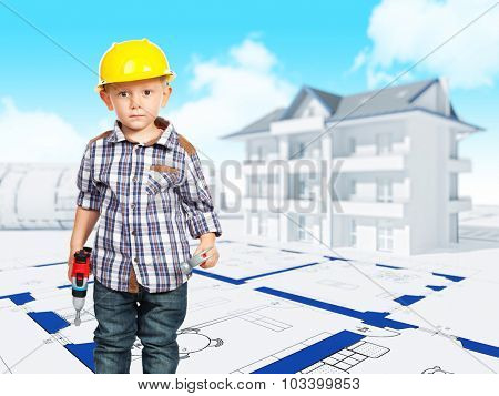 little builder and 3d house background