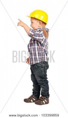 cute child act like handyman isolated on white