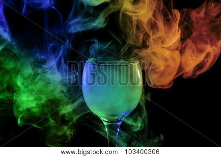 Blue-green-orange Smoke In The Glass. Halloween.