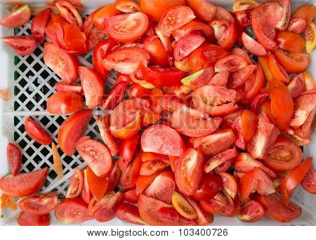 Heap Of Sliced Red Tomatoes Freshness