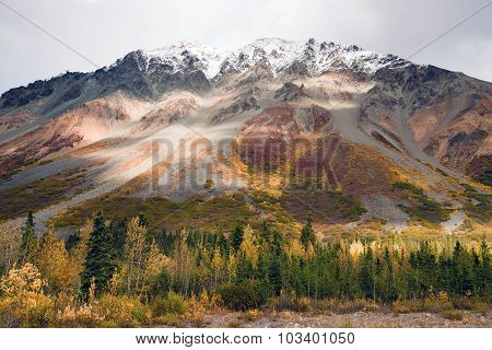 Fall Color Snow Capped Peak Alaska Range Fall Autumn Season