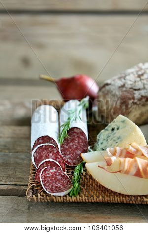 Still life with various types of Italian food