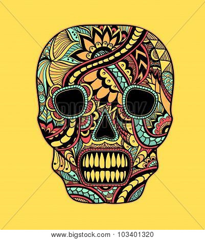Decorate Skull painted ornament full colors on yellow