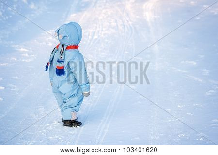 boy on snow background