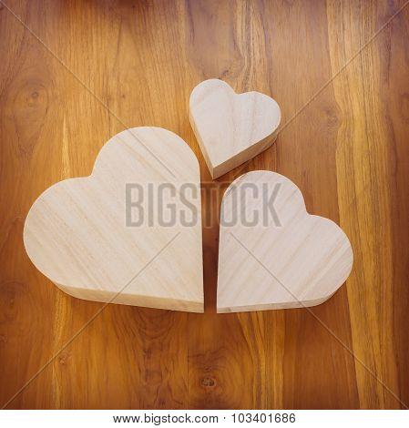 Wood Heart Arrange Shaped Cloud On Brown Wooden Background