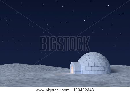 Igloo Icehouse With Warm Light Inside Under Night Sky With Stars.