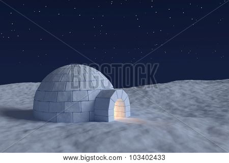 Igloo Icehouse With Warm Light Inside Under The Sky With Stars