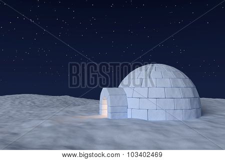 Igloo Icehouse With Warm Light Inside Under Sky With Night Stars