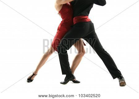 Two tango dancers passion on the floor