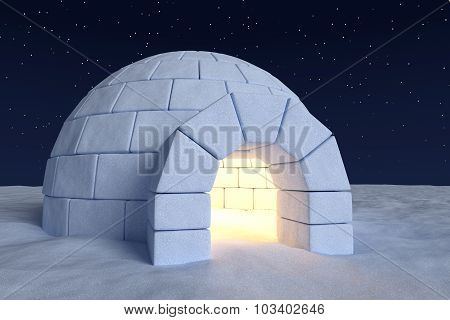 Igloo Icehouse With Warm Light Inside Under Night Sky With Stars Closeup View