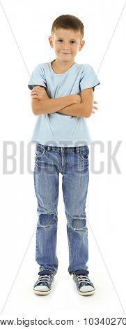 Beautiful little boy, isolated on white