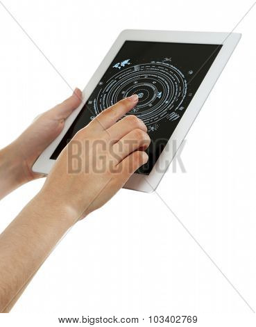 Hand pushing business graph on tablet-pc.  Futuristic button