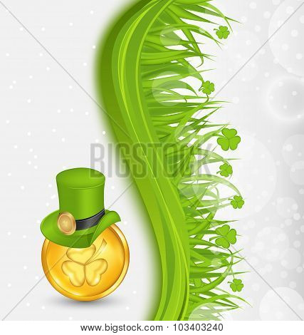 Natural background with coin, hat, shamrocks, grass. St. Patrick