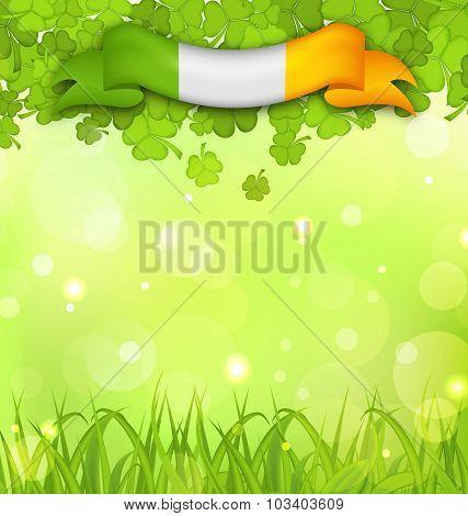 Glowing nature background with shamrocks, grass and Irish flag f