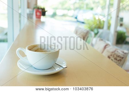 Hot Of Coffee Drink On Wooden Table Bar In The Cafe
