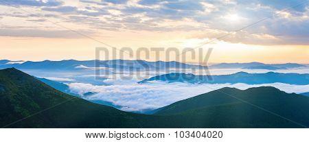 Summer Cloudy Sunrise Mountain Panorama