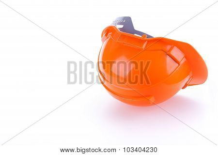 Orange Safety Helmet Hard Hat, Tool Protect Worker Of Danger In Construction Industry, Isolated On