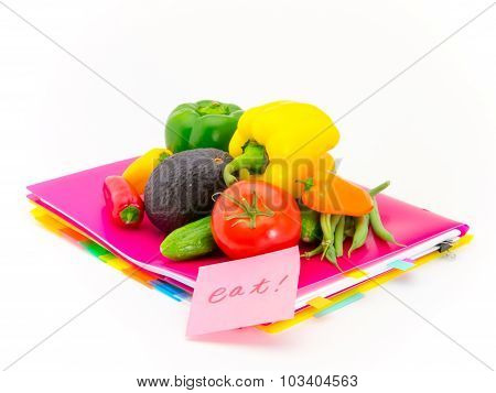 Office Documents And Vegetables; Eat