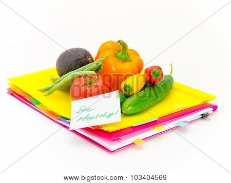 Office Documents And Vegetables; Be Healthy